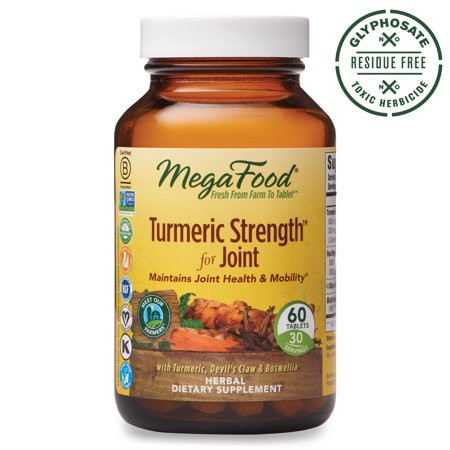 MegaFood, Turmeric Strength for Joint, Maintains Joint Health and Mobility, Vitamin and Herbal Dietary Supplement, Gluten Free, Vegan, 60 tablets (30 servings)
