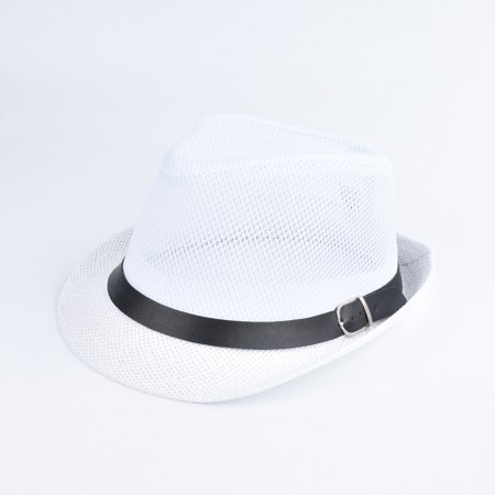 Fashion Unisex Sun Hat Straw Hat Solid Hollow Out Metal Belt Summer Sunbonnet Trilby Fedora Beach Panama Hat