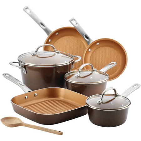 Ayesha curry porcelain enamel nonstick 10 piece cookware for Ayesha curry cookware