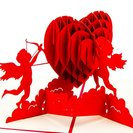 Cupid Heart 3D Pop Up Card For Valentines Day Lover Romance Cute Couple Wedding Happy Birthday Anniversary Greeting Cards To