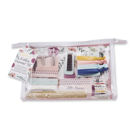Floral Survival Kit Your wedding day is the one day when nothing can go wrong, and Kate Aspen's Floral Wedding Survival Kit ensures everything goes smoothly! Presented in neat clear vinyl cosmetics bag with a floral design backer card, this emergency kit includes everything you need to ensure that every aspect of your look is covered. Perfect for bridesmaid or bridal party gifts, the Kate Aspen Floral Wedding Survival Kit has everything you don't want to go without on your big day! Features and facts: A practical and adorable floral patterned wedding survival kit with items brides and bridesmaids need to ensure the wedding day goes smoothly Survival kit includes: manicure set with nail clippers, tweezers, and scissors, nail file, 4 hair ties, 8 bobby pins, paper clothing tape, 12 absorbing wipes, and sewing kit displayed in a clear vinyl cosmetic bag Measures 10.2  w x 6.7  h x 2.1  d
