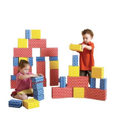 Cardboard Brick Block Large Building Set - 44 Pieces - Jumbo Building Blocks
