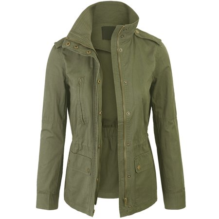 Womens Zip Up Military Anorak Safari Jacket Coat ()