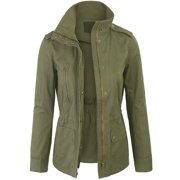Womens Zip Up Military Anorak Safari Jacket Coat