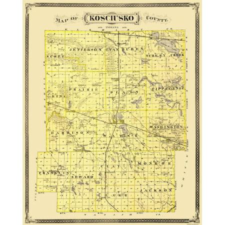Old County Map - Kosciusko Indiana Landowner - 1876 - 23 x 28.75