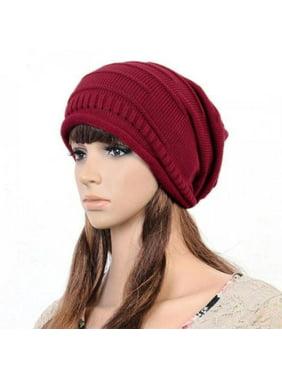 Unisex Womens Mens Knit Baggy Beanie Hat Winter Warm Oversized Ski Slouch Cap