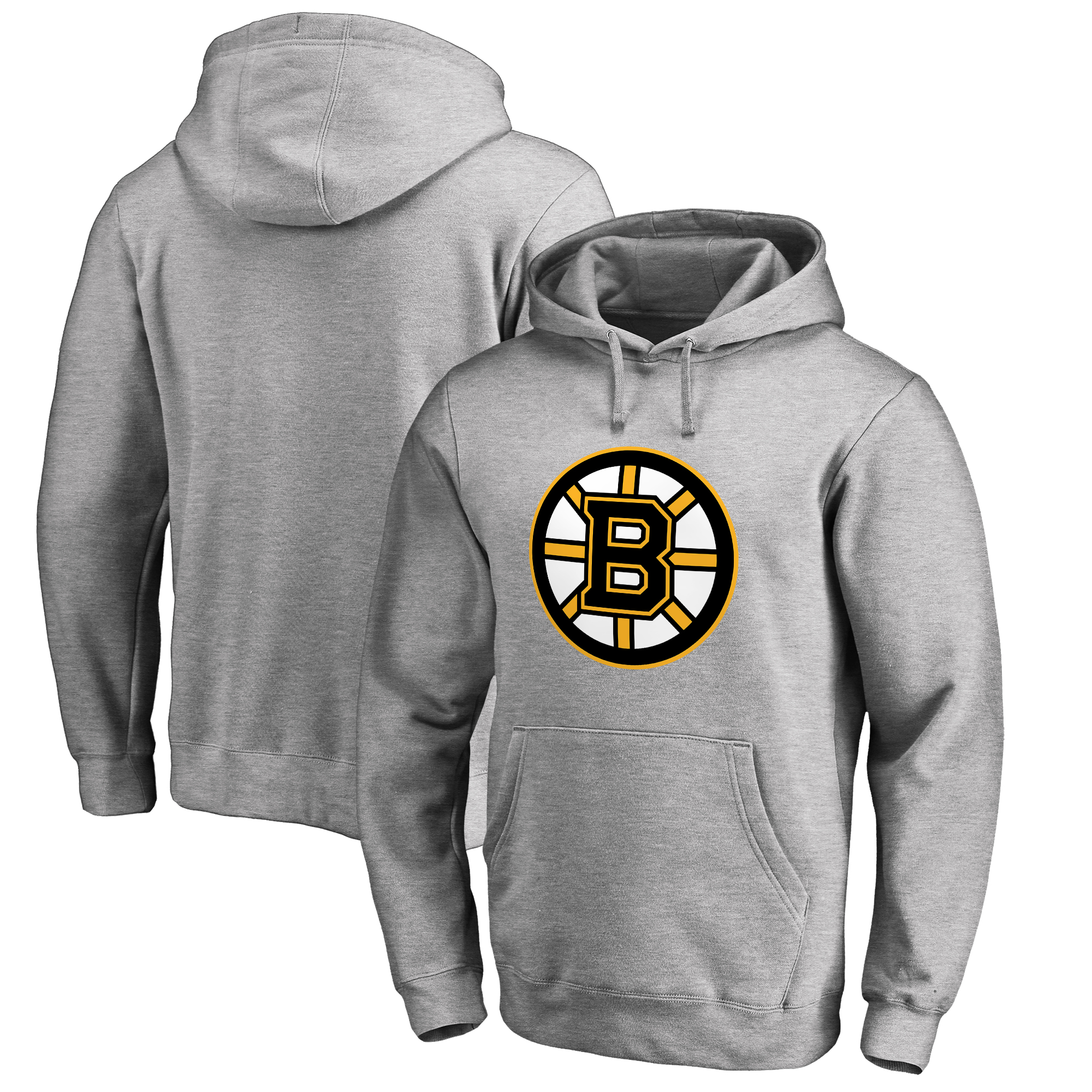 Boston Bruins Fanatics Branded Primary Logo Pullover Hoodie - Ash