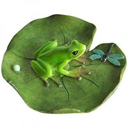 Top Collection Miniature Fairy Garden and Terrarium Frog and Dragonfly on Lotus Leaf Statue (Fairy Garden Terrarium)