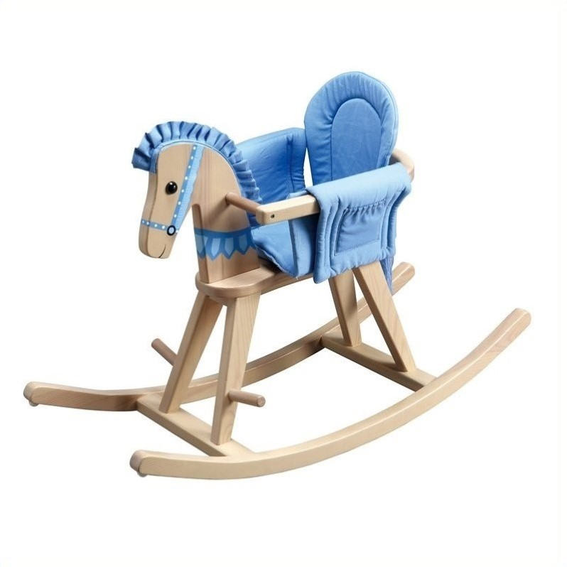 Teamson Kids Safari Natural Rocking Horse with Blue Pad