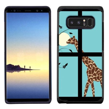 Giraffe Folded Note - Dual Layer case for Samsung Galaxy Note 8, OneToughShield ® Shock Abosrbing Hybrid Bumper Case (Black) - Moon Giraffe