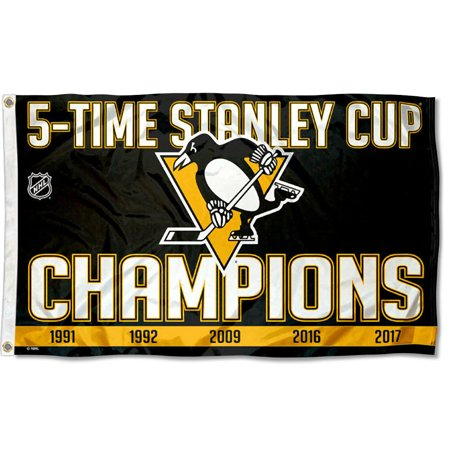 Pittsburgh Penguins Pennant (Pittsburgh Penguins 5 Time Stanley Cup Champions NHL Flag )