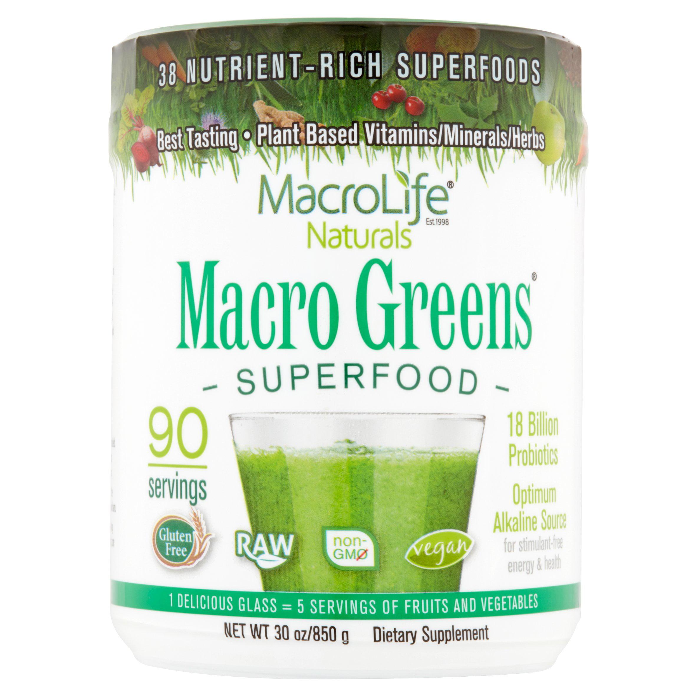 MacroLife Naturals Macro Greens Superfood Powder, 1.9 Lb