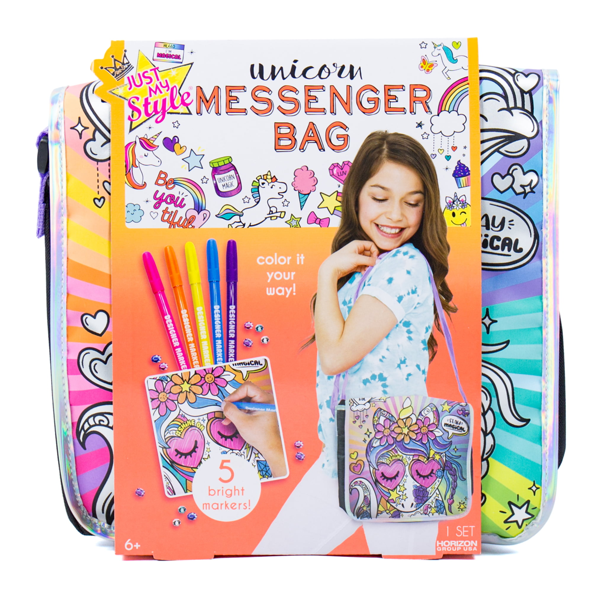 Young Girls Messenger Bag Made With Multi Colored Floral Fabric