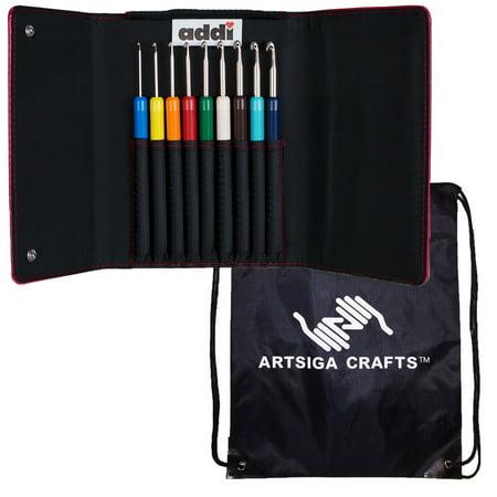 addi Knitting Needles Crochet Hook Colours Set Bundle with 1 Artsiga Crafts Project