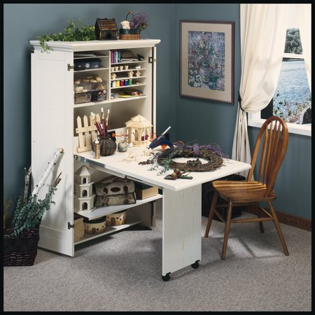 Sauder Harbor View Craft Armoire, Antiqued White Finish
