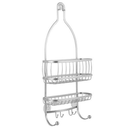 York Lyra - Bathroom Shower Caddy Shelves - Silver - 10 x 4 x 22 inches, CLASSIC BATHROOM ACCESSORY: Bathroom Shower Caddy for Shampoo,.., By InterDesign