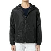 DODOING Men's Black Lightweight Windbreaker Jacket Waterproof Hooded Outdoor Jackets Casual Outwear