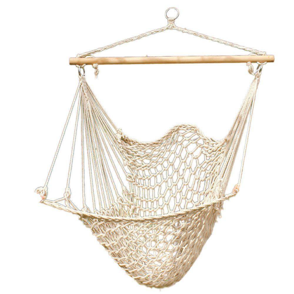 Hammock Cotton Swing Camping Hanging Rope New Chair Wooden Beige White Outdoor By Unbranded*