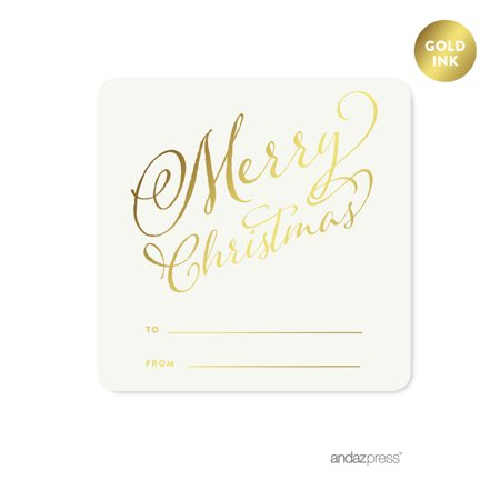 Gold Gold Merry Christmas Square Gift Label Stickers, 40-Pack ()