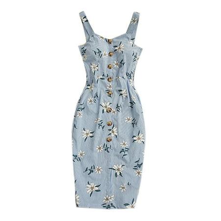 Women's Floral Sleeveless Bodycon Strappy Pencil Buttons V Neck Midi Dress