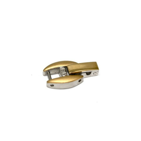 GOLD TWO TONE STAINLESS STEEL FOLD OVER CLASP WOMENS WATCH BRACELET EXTENDER