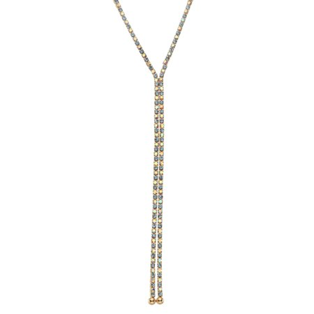 X & O 14KT Gold Plated Crystal Single Row X-shape necklace in Light Sapphire and Crystal AB Combination *** ()