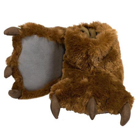 Lazy One Brown Bear Paw Super Soft Slippers Adult & Kids House ...
