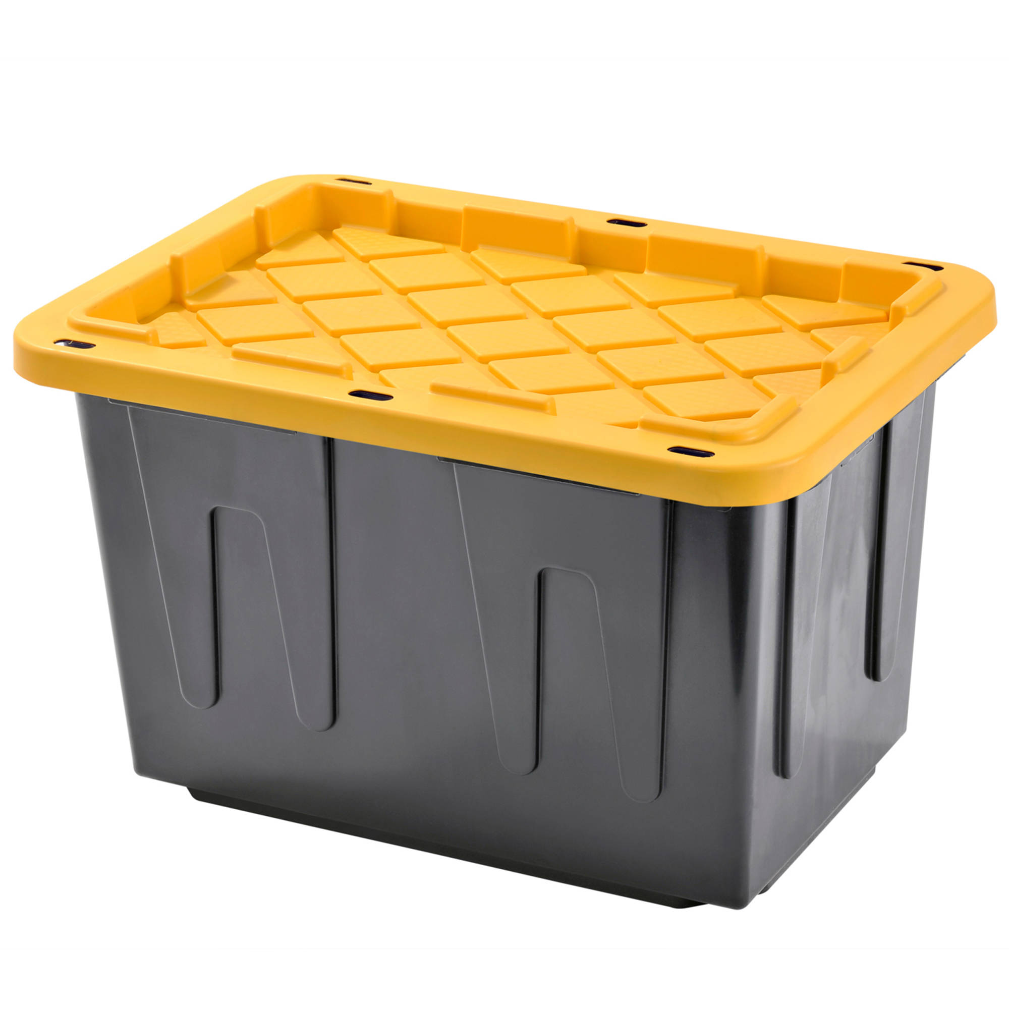 Plastic Heavy Duty Storage Tote Box, 23 Gallon, Black With Yellow Snap Lid, Stackable, 4-Pack