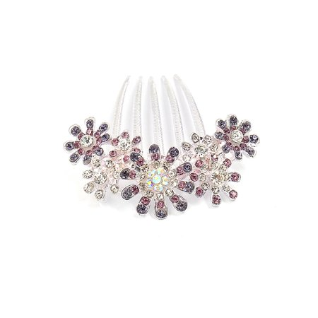 Unique Bargains Women Faux Rhinestone Decor Flower Shaped Hair Diy Comb Clamp Clip