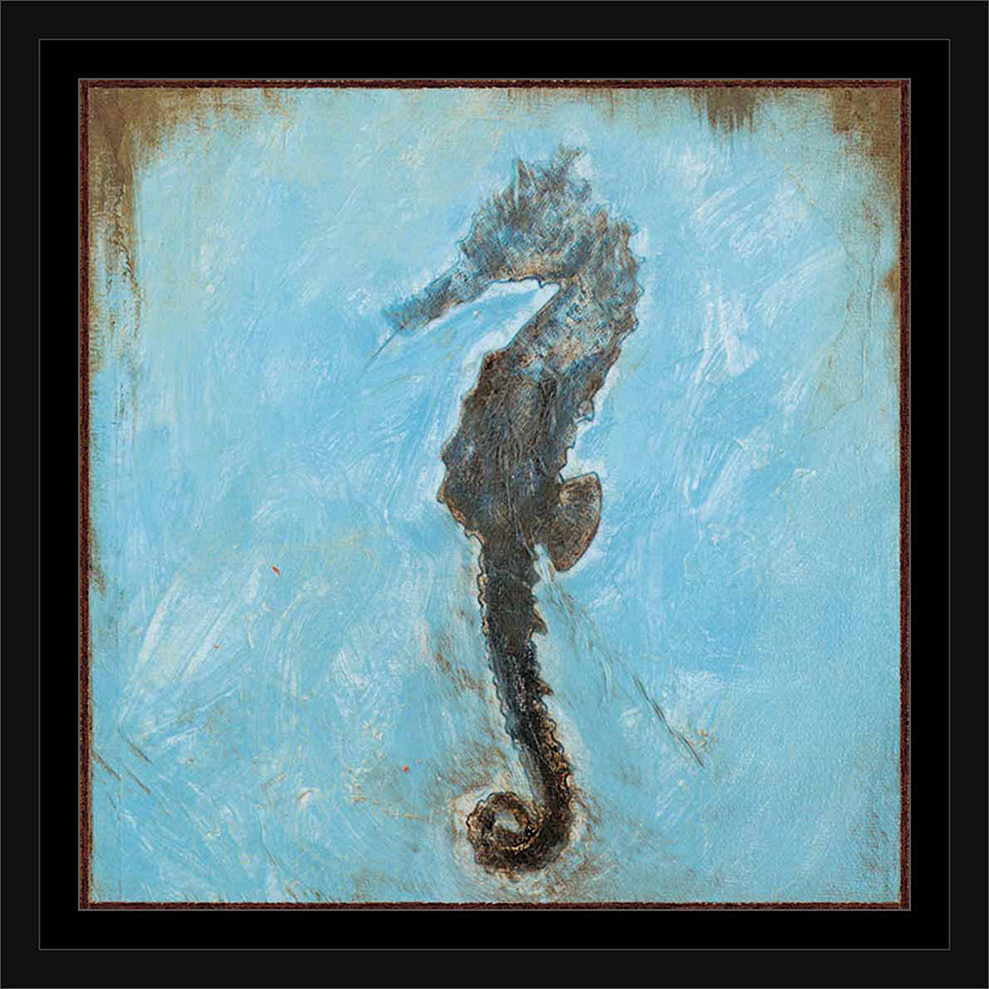 Seahorse Distressed Square Coastal Painting Tile Blue & Brown, Framed Canvas Art by Pied Piper Creative