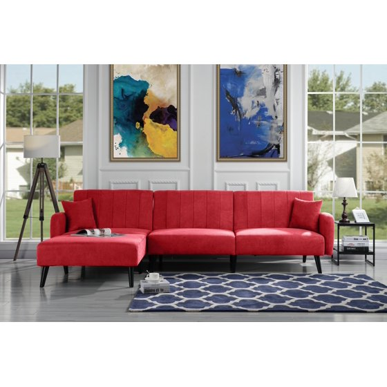 mid century reclining sectional sleeper sofa red. Black Bedroom Furniture Sets. Home Design Ideas