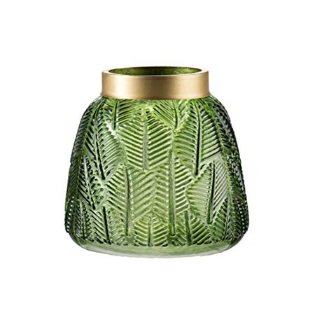 A&B Home Group Green Fern Leaf Glass Vase D6x6