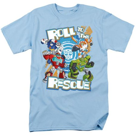 Trevco Sportswear HBRO247-AT-5 Transformers & Roll to the Rescue-Short Sleeve Adult 18-1 T-Shirt, Light Blue - 2X - image 1 de 1