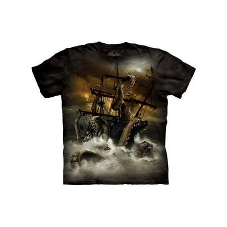Black Cotton T-shirt (Black 100% Cotton Kraken Realistic Graphic T-Shirt)