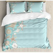 Shell Duvet Cover Set King Size, Thin Lines and Various Creative Seashells Beach Party Theme, 3 Piece Bedding Set with 2 Pillow Shams, Seafoam Warm Taupe Grey Yellow White, by Ambesonne