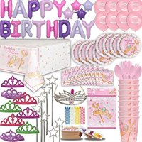 """""""Princess Birthday Party for 16. 100+ Items: Plates, Cups, Cutlery, Napkins, Tablecover, Foil Balloon Birthday Banner, Princess Balloons, Tiaras, Wands, Royal Bday Girl Tiara , Bags, Candles, Tattoos"""""""