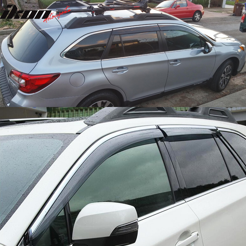 Fits 15-18 Subaru Outback Polycarbonate Window Visors w// Chrome Trim 4Pc Set