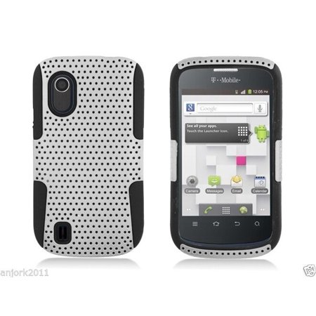 ZTE Concord V768 T-Mobile Mesh Hybrid Case Skin Cover White Black (T Mobile Concord Phone Cases)