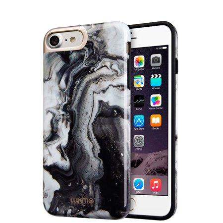 Dream Wireless CSIP8-MBC-BSM Luxmo Premium Marblicious Collection for iPhone 8 Marble Shine Design UV Coated TPU Case - Black Swirl (Floral Swirls Iphone)