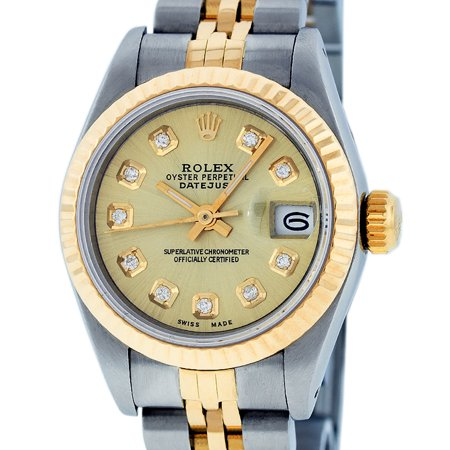 18k Ladies Watch (Pre-Owned Rolex Ladies Datejust Steel & 18K Yellow Gold Champagne Diamond Watch 69173 Jubilee )