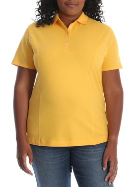 Lee Riders Women's Plus Size Short Sleeve Knit Everyday Essential Polo Shirt