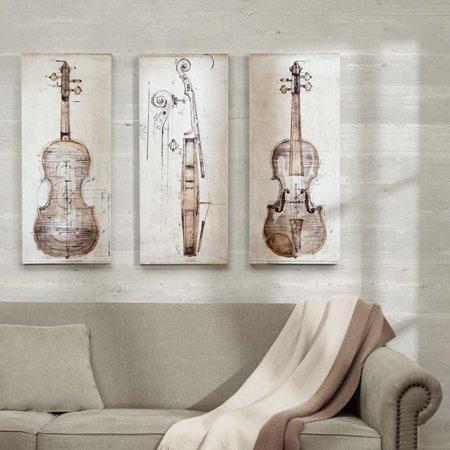 Madison Park Violin Study Set Printed Canvas With Hand Embellishment 3 Piece Set Study Framed Print Set