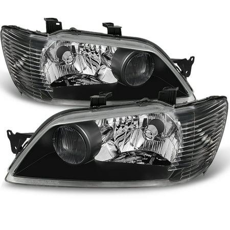 - Fit 02-03 Mitsubishi Lancer LS ES Sedan & Wagon Black Headlights Replacement