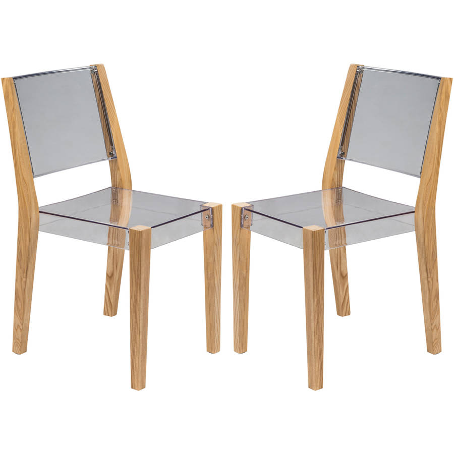 LeisureMod Barker Modern Wooden Dining Kitchen Side Chair in Clear Set of 2