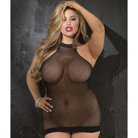 Shirley of Hollywood Plus Size Halter Fishnet Chemise (Shirley Of Hollywood Lingerie Set)