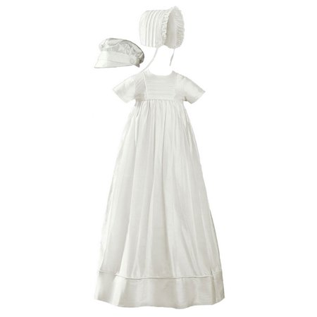 Baby Unisex Off White Silk 2 Hats Short Sleeve Christening Heirloom Gown