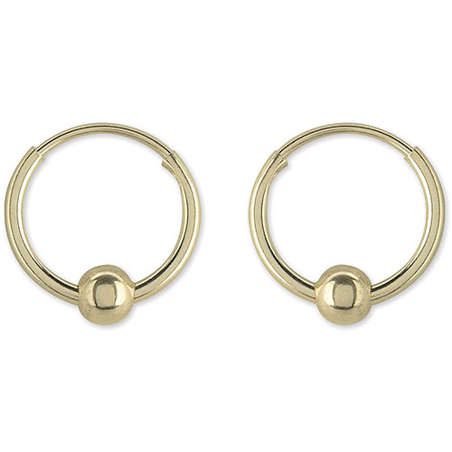 Disney 10kt Gold 3mm Bead-on-Hoop Earrings