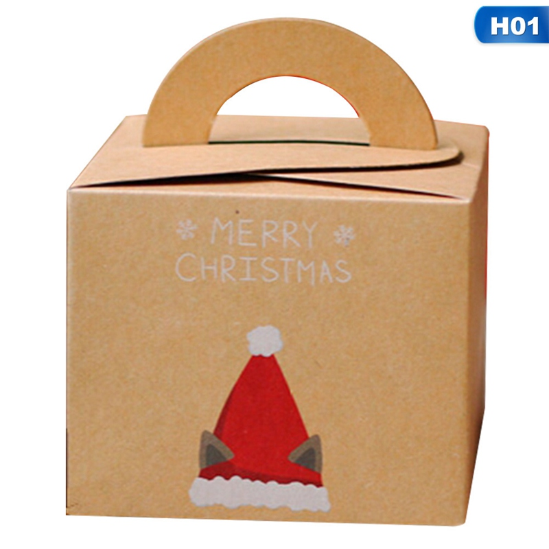 Fancyleo 2Pcs Kraft Paper Christmas Gift Box Party and Festival Gift Packing Santa Claus Small Handheld Candybox