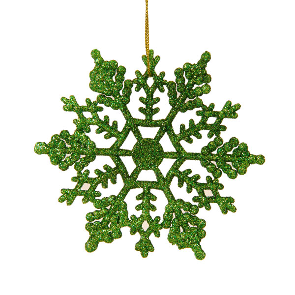 "Club Pack of 24 Xmas Green Glitter Snowflake Christmas Ornaments 4"""