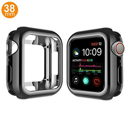 Case Compatible Apple Watch Series 3, Shock Proof Protective Silicone Bumper Resistant TPU Protector Case Cover Replacement for Apple Watch Apple Watch Series 1, 2 & 3 Cellular (Gloss Black,